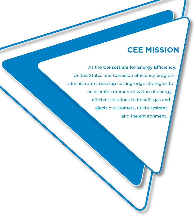 CEE Mission: As the US and Canadian consortium of gas and electric energy efficiency program administrators, CEE works to accelerate the development of energy efficient products and services, encourage market uptake, and attain lasting public benefit.
