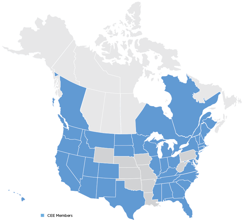 Map of 38 states and 5 provinces where CEE members operate
