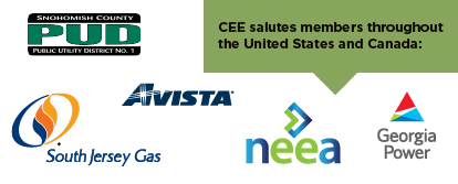 CEE salutes members throughout the United States and Canada, including NEEA, Avista, Georgia Power, Snohomish County PUD, and South Jersey Gas