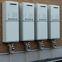 On demand water heaters in series can be efficient in commercial situations.